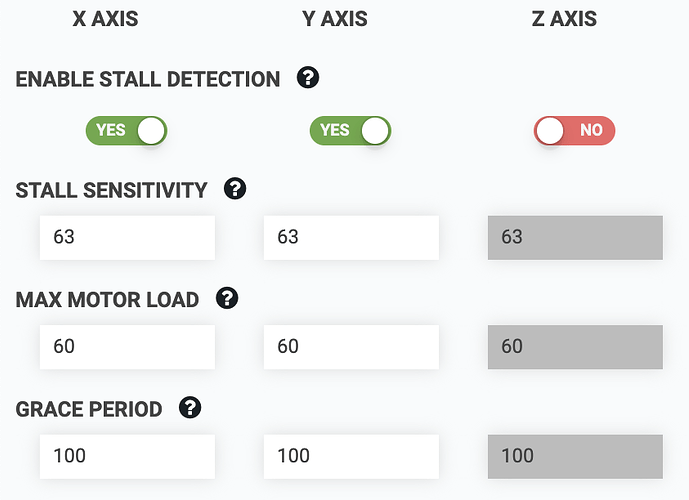 Stall detection settings